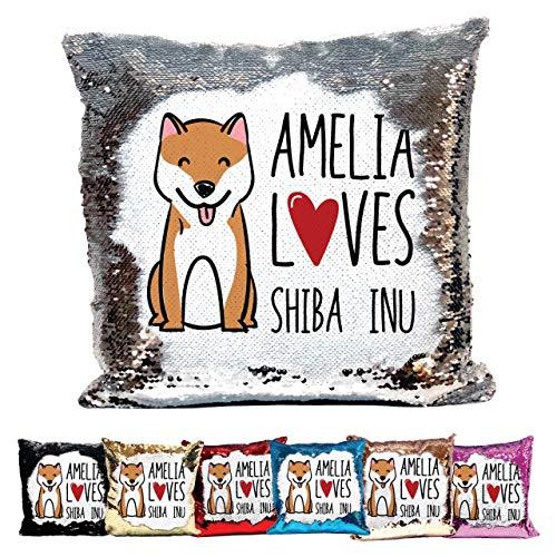 Bantersaurus Personalised Love Shiba Inu Reversible Sequin Cushion Customised Name - Red