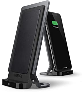 Defense Vertical Charger, Wireless Qi Charging Stand, Machined Aluminum Frame, Up to 10W Fast Charging for Apple iPhone, Samsung Galaxy, Note and Other Qi Devices (Black)