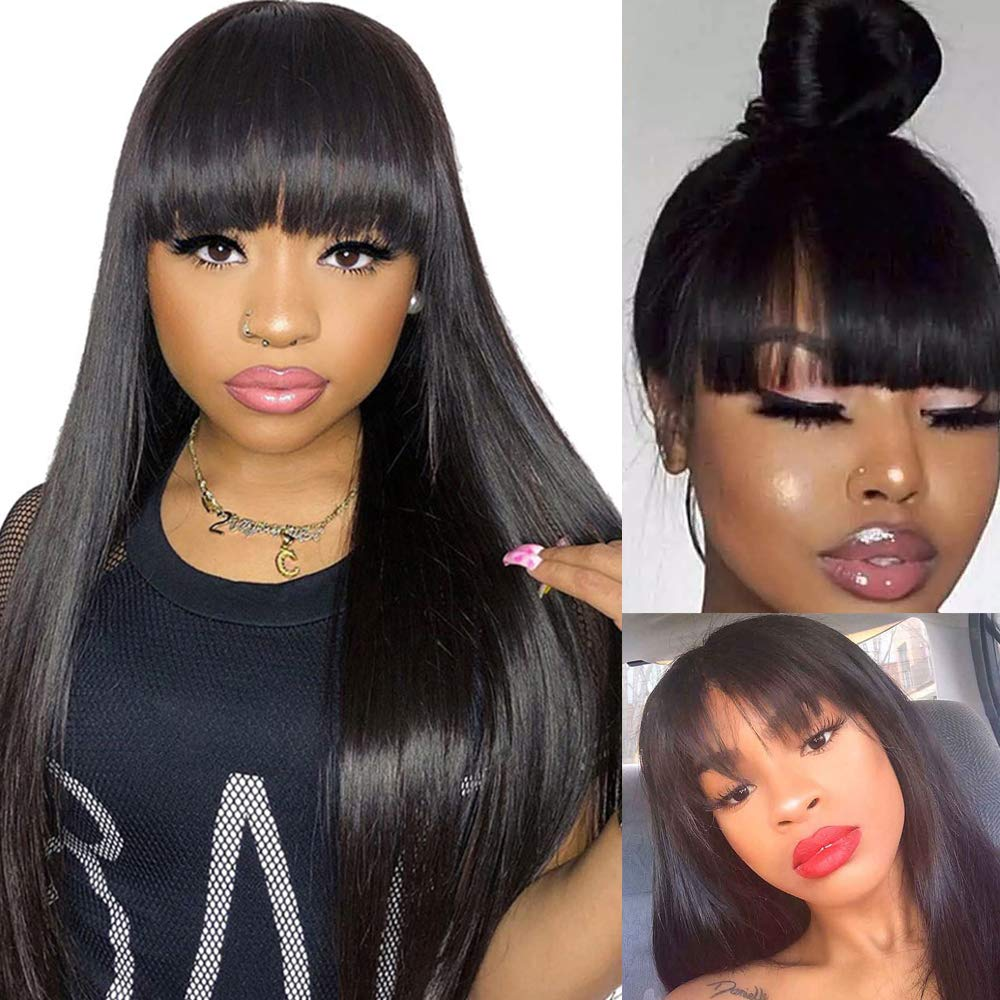 Wigs with Bangs Limited time sale Glueless Human Non Regular store Straight Hair