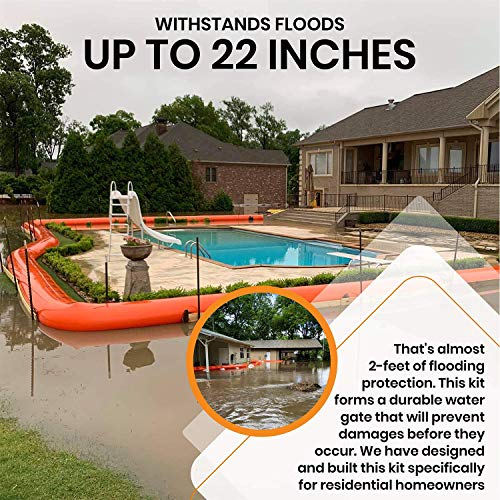 Dam Right Premium Flood Barrier for Homes | Quick, Easy, Effective, Affordable | Water Protection, Flooding Control | 600-ft Length, 24-in Height