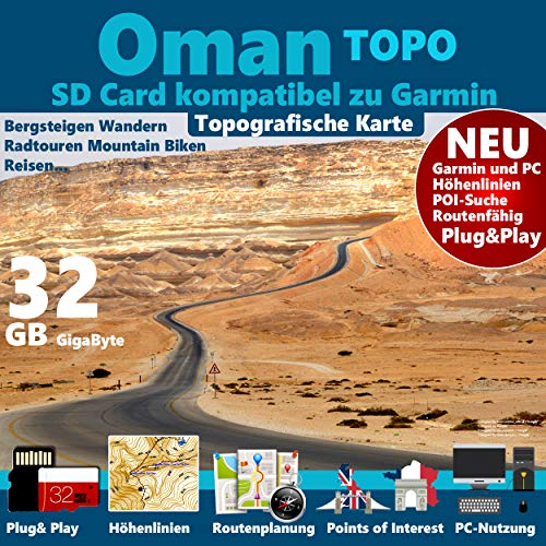 ★ Oman Garmin Karte OutdoorTopo microSD Card für Garmin Navi, PC & MAC für Garmin Navigationsgeräte Navigationssoftware ★