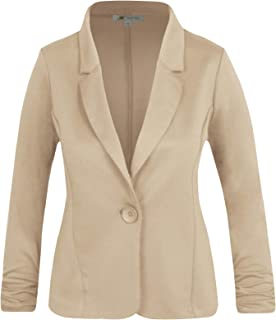 2dc522687 Michel Women's Basic Collar Blazer 3/4 Crunched Sleeve Button Closure Jacket  with Plus Size