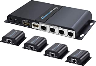 TNP HDMI Extender Splitter Over Ethernet Cat6/Cat7 Cable w/IR Remote Control Extension Support - Extend Long Distance HDMI Singal Distribution Kit Relay Hub Amplifier (4 Port - 1 Input 4 Outputs)