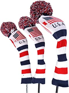 GOOACTION 3PCS Knitted Golf Head Covers for Driver and Fairway Woods American USA Flag Pattern with Long Neck Design White...