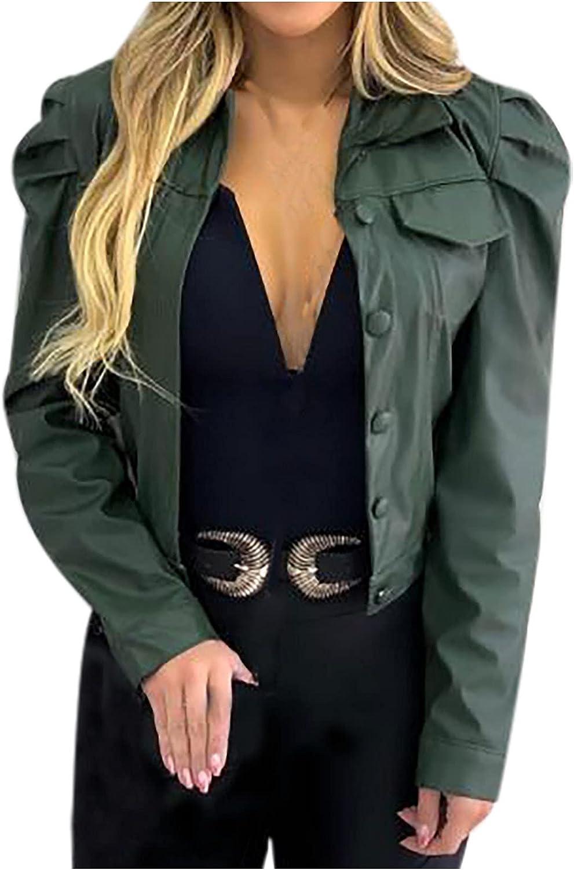 GOODTRADE8 Winter Coats for Women, Women's Street Short Lapel Frayed Breasted Denim Puff Sleeve Slim Leather Jacket