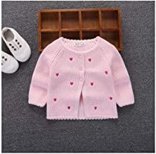 Toddler Girl's Winter Knit Sweater Cardigan Jacket Outfit Newborn Infant Clothes Baby Fashion Cute Coat Pink Tips