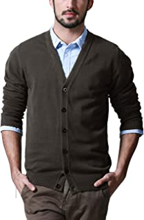 Matchstick Men's Button Through V Neck Knitted Cardigan #Z1522(Taupe,UK 2XL (Asian tag Size 4XL))