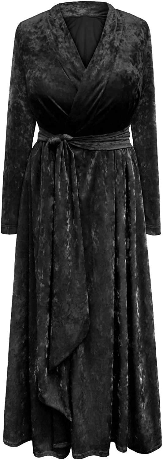 Plus Bargain sale Size Ice Velvet Robe Attached Dressing Gown with Regular discount Belt