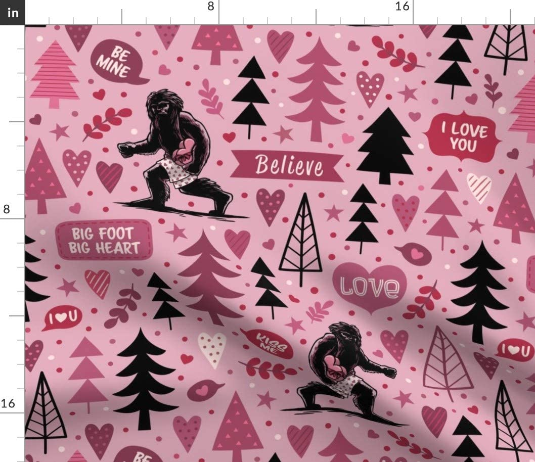 Easy-to-use Spoonflower Fabric - Valentine Bigfoot Heart Sasquatch cheap Valen Big