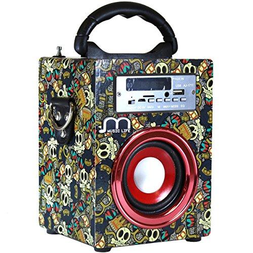 Music Life Altavoz Bluetooth Portátil Radio FM Inalámbrico USB Tarjeta TF Recargable con Remoto