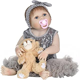 Muñeca de bebé realista con cuerpo de silicona, lavable,