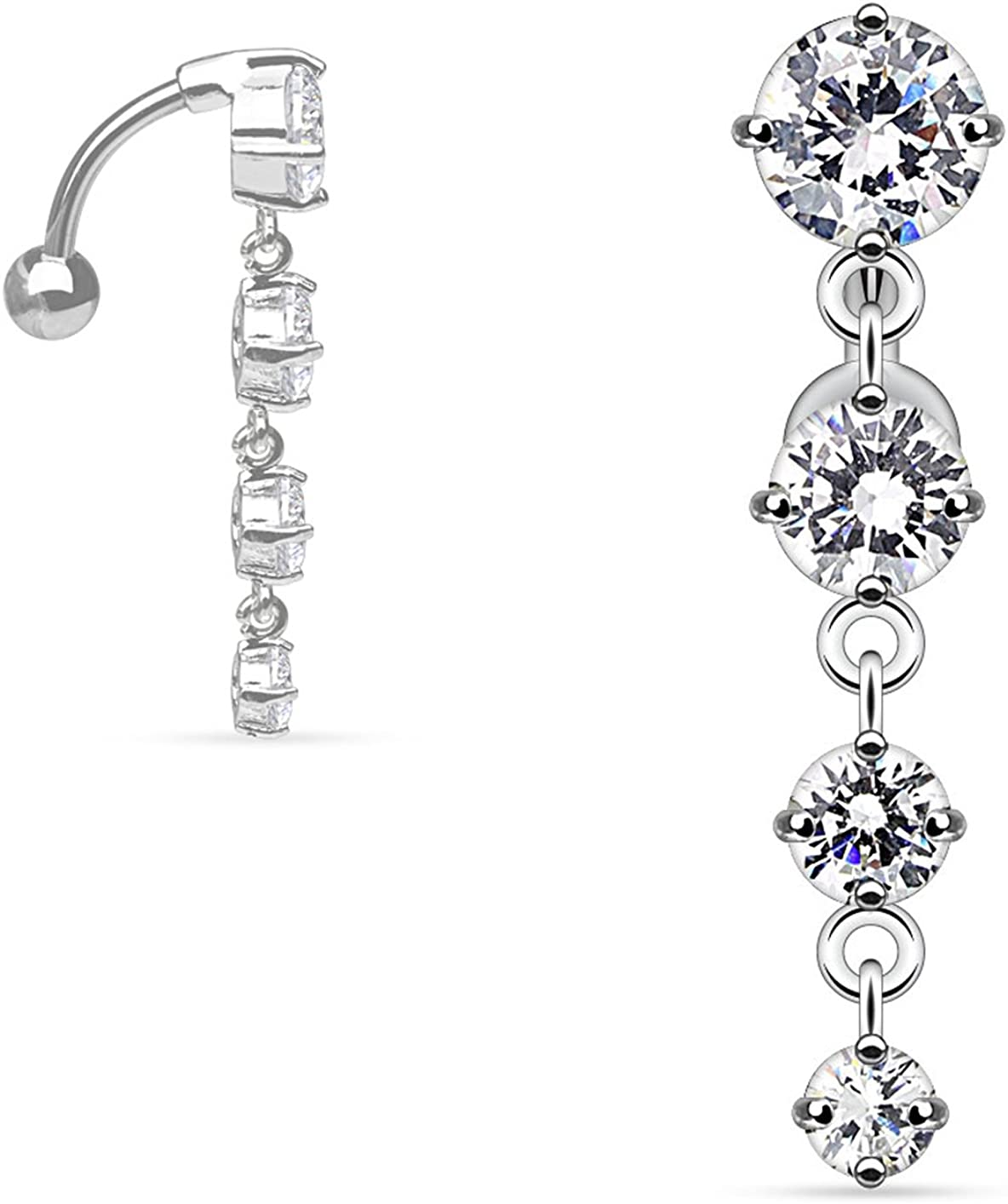 Forbidden Body Jewelry 14G Belly Button Rings Dangle 316l Surgical Steel Belly Ring with Casacade of Clear Gems