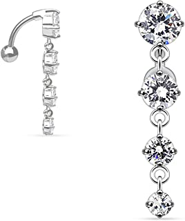 Sexy Reverse Mount Dangle Belly Button Ring with Cascade of Clear Crystal Gems