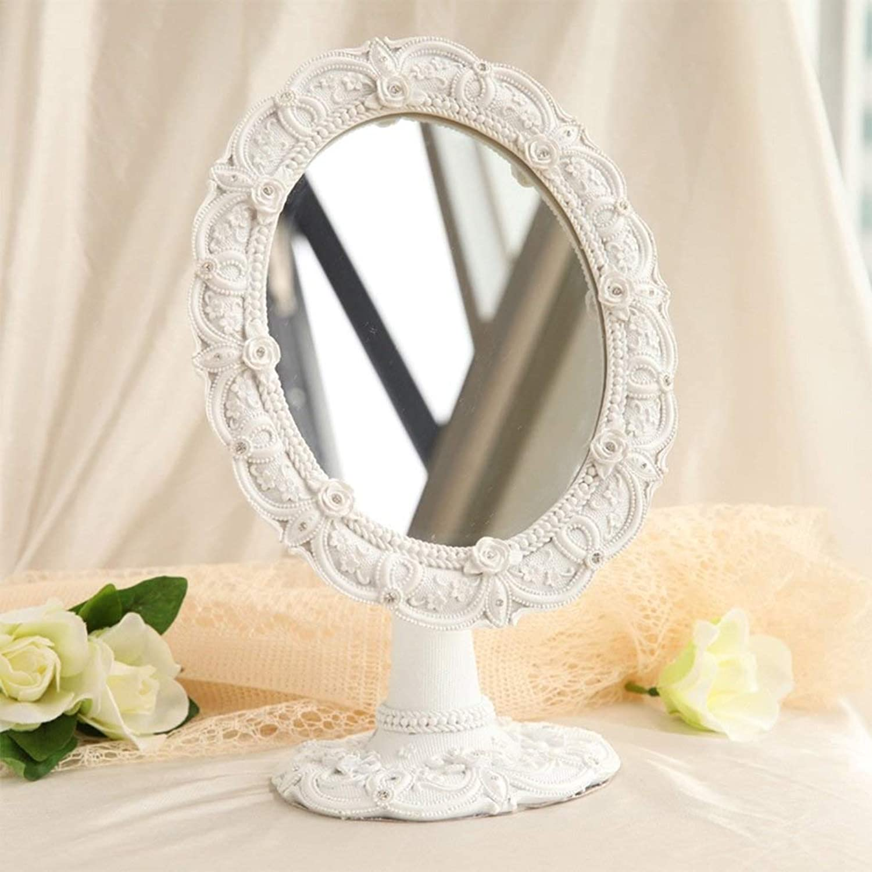 SMC Mirror Nordic Simple Desktop Single-Sided Beauty Mirror Oval Adjustable HD Vanity Mirror (color   White)