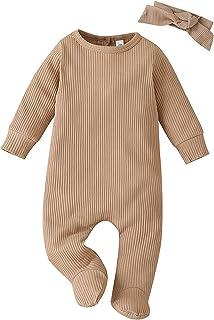 2 قطع طفل رضيع فتاة رومبير الشتاء الملابس الوليد الصلبة مضلع بذلة الملابس+عقال مجموعة (Color : Khaki, Size : 3-6 Months)