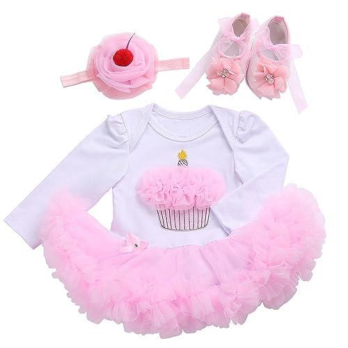 7e4532888 Fubin One Year Birthday Dress Tutu Toddler Baby Girl Clothes Shoes Headband  3 Pcs Cake Long