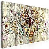 decomonkey Bilder Gustav Klimt Baum 140x70 cm 1 Teilig Leinwandbilder Bild auf Leinwand Wandbild Kunstdruck Wanddeko Wand Wohnzimmer Wanddekoration Deko Abstrakt Mosaik bunt beige