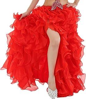 DaiHan Bauchtanz Kostüm Rock Für Frauen Flamenco Rüschen Big Swing Röcke Maxi-Rock