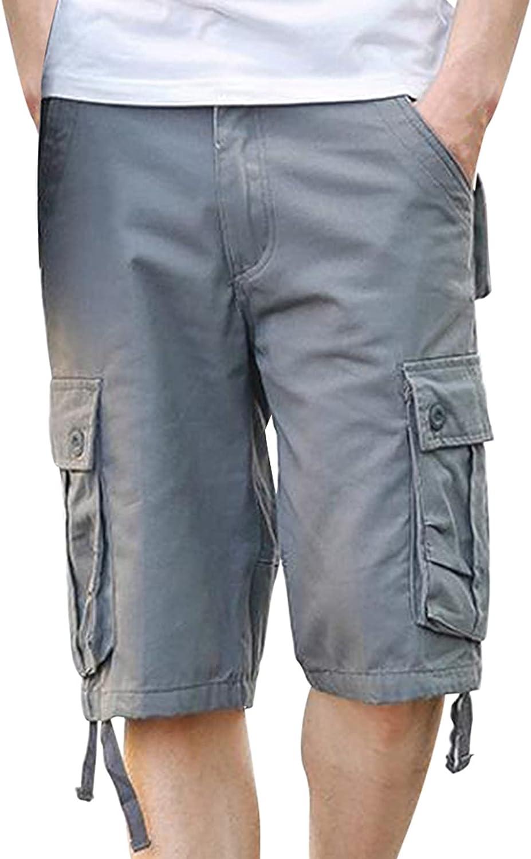 FEITONG Men's Shorts Summer Shorts Fashion and Leisure Pants Multi-Pocket Shorts Solid Color Overalls Shorts