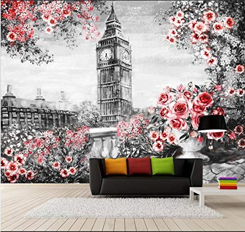 Mural Wallpaper 3D Non-Woven Photo Wallpaper Murals Wall Art Giant Poster Decoration Picture Design Modern 380X256Cm Hand Painted Big Ben Building Rose Background Wall