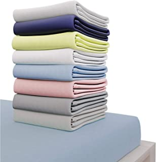Dreamzie - Drap Housse 140x200 cm - 100% Coton Jersey Certifié Oeko-TEX® - Bleu - pour Matelas 140 x 200 x 22 cm avec Gran...