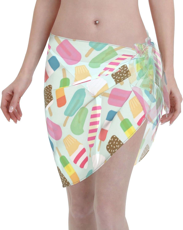 Womens Beach Wrap Summer Ice Cream Beach Sarongs Print Swimsuit Cover Ups Bikini Sheer Scarf Bikini Wrap Skirt Bathing Suit Coverup