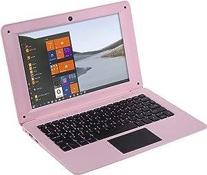 Goldengulf Windows 10 Portable Computer Laptop Mini 10.1 Inch 32GB Ultra Slim and Light Netbook Intel Quad Core PC HDMI USB Netflix YouTube for Children (Pink)