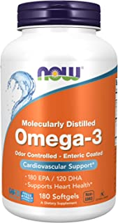 NOW Supplements, Omega-3, Enteric Coated, 180 Softgels