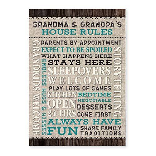 Grandma & Grandpa's House Rules Rustic Wood Sign 12x18