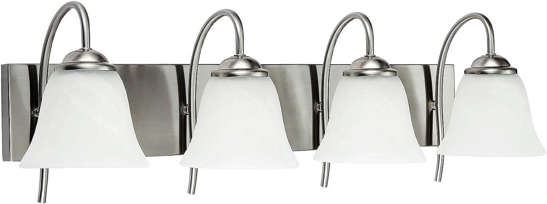 OSTWIN 4-Light Bath Bar Light Up or Down, Interior Bathroom Vanity Wall Lighting Fixture VF41, 4x60 Watt E26 Socket, Satin Nickel Finish with Alabaster Bell Glass Shade UL Listed