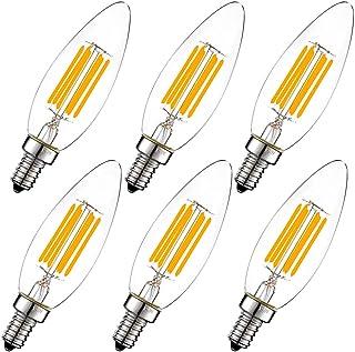 LiteHistory Dimmable 6W B10 led Bulb E12 60W Candelabra led Torpedo 2700K 600lm Blunt tip 6Pack