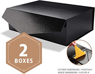 PACKHOME Large Gift Boxes Rectangular 14x9.5x4.5 Inches Bridesmaid Proposal Boxes, Sturdy Storage Boxes, Collapsible Gift Boxes with Magnetic Closure (Glossy Black with Embossing, 2 Boxes)