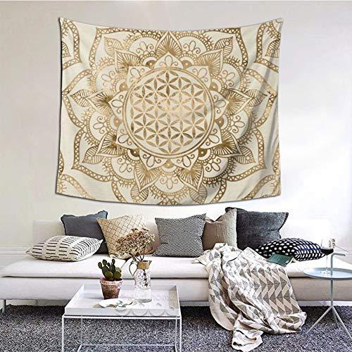 KCOUU Wandteppich, Motiv: Blume des Lebens in Lotus, Pastell-Gold und Leinwand, Wandbehang, Tagesdecke, Picknickdecke, Wandteppich, Überwurf, Wanddecke, Kunst-Dekor