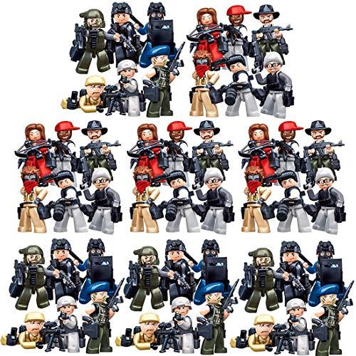GUOGUO 48 Stück Militär Bausteine Spielzeug Military Army Waffen und Zubehör Set für SWAT Team Polizei Soldaten Mini Figuren Kompatibel mit Lego