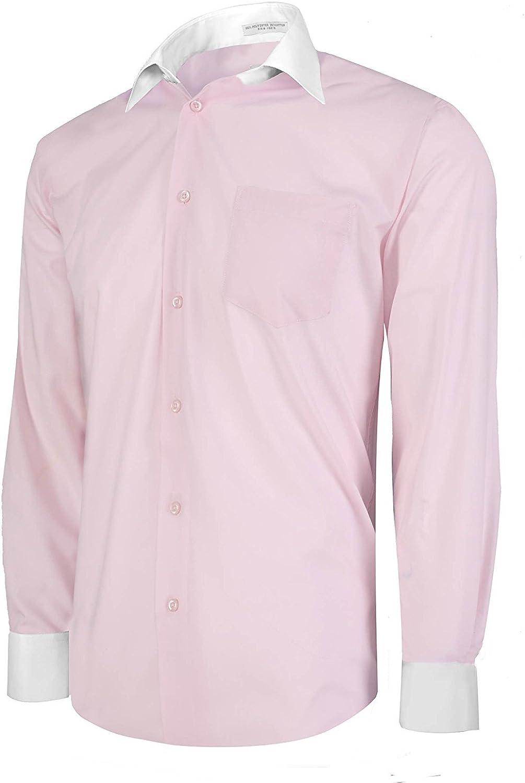 Berlioni Italy Men's Button-Front Two Tone Dress Shirt