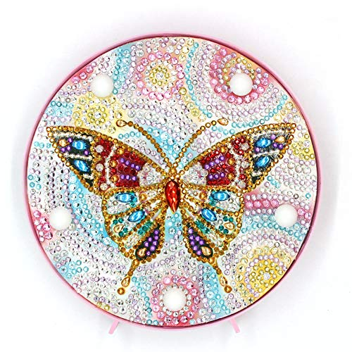 Yobeyi DIY Diamond Painting Lamp with LED Lights Full Drill Crystal Drawing Kit Bedside Night Light Arts Crafts for Home Decoration or Christmas Gifts 6.0x6.0inch (Butterfly-B)