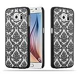 Cadorabo Samsung Galaxy S6 (Nicht für Edge) Hardcase Hülle in SCHWARZ Blumen Paisley Henna Design Schutzhülle – Handyhülle Bumper Back Hülle Cover