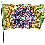 ALLdelete# Flags Blume des Lebens heilig langlebig verblassen beständig dekorative Fahnen Flagge mit Ösen Polyester Deluxe Outdoor Banner für alle Jahreszeiten Urlaub 3 X 5 ft