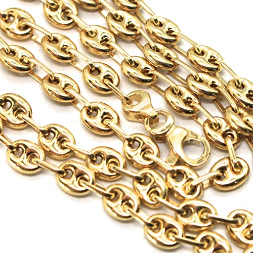 Cadena de oro amarillo 750 18 K, marina, marina, marinera, ovalada, de 4 mm de grosor, 60 cm de longitud, fabricada en Italia