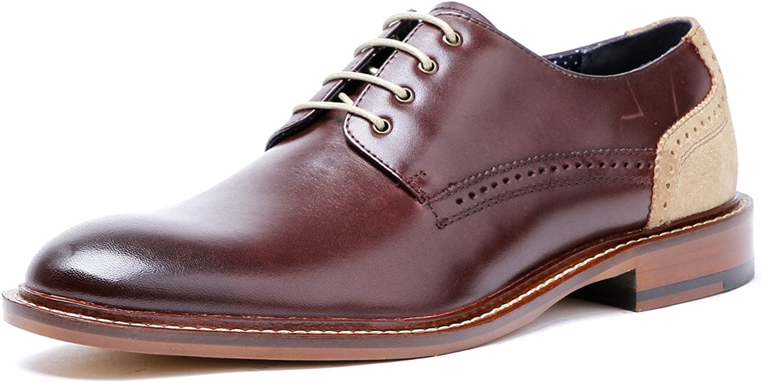 DESAI Mens Dress shoes Lace up Derby in Wine