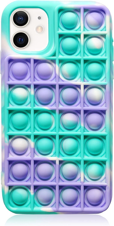 EVERMARKET Push Pop Bubble Fidget Sensory Toys Case for iPhone 11, Push Pop Bubble Silicone Case for iPhone 11, Drop Protection Case 6.1inch (Camouflage Blue)