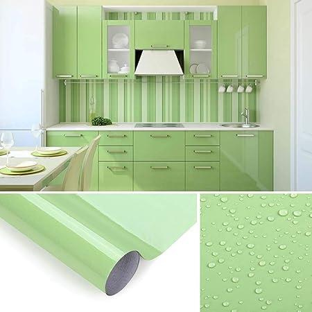 KINLO Papel de Cocina Verde 60x500cm de PVC Adhesivo para Armario Cocina Papel Adhesivo para Muebles Papel Impermeable Autoadhesivo para Armario de ...