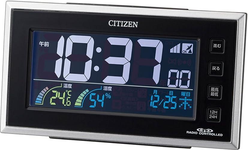 ハム勇敢なタイムリーなシチズン 目覚まし時計 電波 デジタル パルデジットネオン カラー 液晶 温度 湿度 カレンダー 表示 AC電源 24時間 LED 点灯 黒 CITIZEN 8RZ121-002