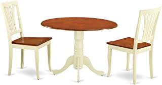East West Furniture DLAV3-BMK-W 3 PC Round Set-Dining Table and  sc 1 st  Amazon.com & Amazon.com: White - Table u0026 Chair Sets / Kitchen u0026 Dining Room ...