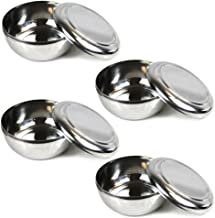 Set of 4, Korean Stainless Steel Rice Bowl with Lid Set, Korean Kitchen Restaurant, Multi-Purpose Stainless Steel Hygienic Sanitary Bowl + Lid Set
