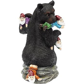 "CCOQUS Garden Gnome Massacre - 10"" Bear Eating Gnomes Outdoor Statues, Funny Garden Decor Lawn Patio Art Sculpture"