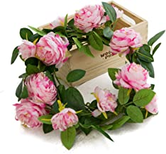 Eternal Blossom Fake Peony Wreath 1.8M Artificial Rose Vine for Front Door Wall Wedding..