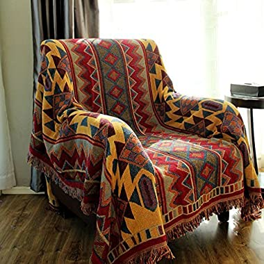 LELVA Bohemian Geometric Patterns Woven Throw Blanket Reversible Bedspreads Boho Bedroom Decor Beach Blanket (51 X 70 inch)