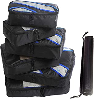 Packing Cubes Travel Storage Bags Luggage Organizer Pouch with Shoes Bag Travel Luggage Organizers Compression Packing Bags 7pcs Black