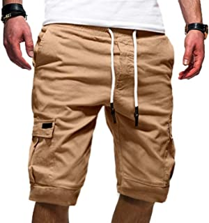 Bloomyma-Men Casual Drawstring Waist Multi Pockets Sports Jogger Cargo Pants Trousers